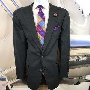 Suit Brooks Brothers gray flat front 100% wool 46L